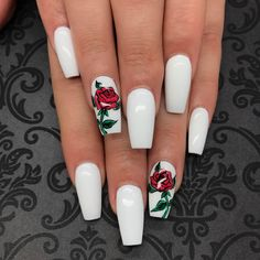 Flowers do not always open, but the beautiful Floral nail art is available all year round. Choose your favorite Best Floral Nail art Designs 2018 here! We offer Best Floral Nail art Designs 2018 .If you're a Floral Nail art Design lover , join us now ! White Acrylic Nails, Best Acrylic Nails, Acrylic Nail Designs, Nail Art Designs, Nails Design, Rose Nail Design, Rose Nail Art, White Acrylics, Nails Rose