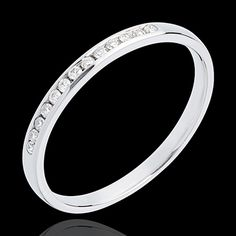Fede nuziale oro bianco semi pavé - incastonatura Binario - 13 diamanti (Fedi nuziali) : gioielli edenly
