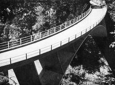 Robert Maillart's curved deck Schwandbach Bridge, Berne, Switzerland, 1933.