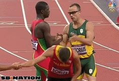 Grenadian 400m Runner, Kirani James and Oscar South Africa's Oscar Pistorious, Exchange Name Tags