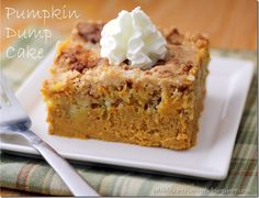 Pumpkin dump cake - Tried it. Easy and excellent! Like pumpkin pie and cake in one dessert.