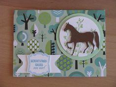Karte für einen Kindergeburtstag auf einem Ponyhof, Lable Love Stampin Up!, Pferde Stanze von Poppy Stamps Trotting Pony,