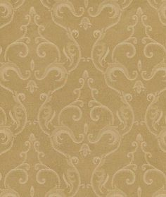 Wallpaper - Soft Scrolling Belgian Damask on Gold - Metallic Sheen, Victorian, Faux Texture, Painted Look - By The Yard - GN2442