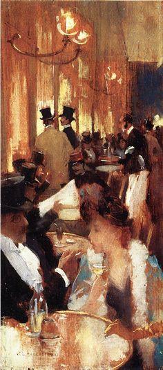 In the Café (Au café), 1888,  Willard Leroy Metcalf. American Impressionist Painter (1858 - 1925)