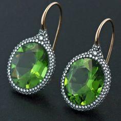 """Peridot ear pendants... #taffinjewelry #taffin #jamesdegivenchy #peridot"""