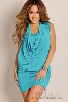 Sexy Teal Blue City Chic Rhinestone Studded Drape Tunic Dress