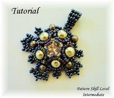 Beading tutorial instructions - beadweaving pattern beaded seed bead jewelry - ISABELLA beadwoven pendant