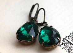 Emerald Green Jewel Earrings Absinthe by dreamyvintage on Etsy, $21.00