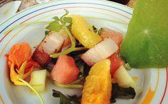 Braised pork belly,watermelon, nasturtium, water cress and pickled watermelon rind Pickled Watermelon Rind, Watermelon Pickles, Braised Pork Belly, Cress, Summer Salads, Cantaloupe, Community, Dishes, Fruit