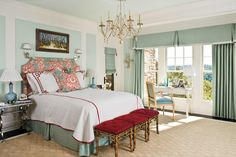 Beautiful Blue Bedrooms: Blue and Cranberry Master Bedroom