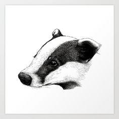 Badger Art Print by Sam Chelton