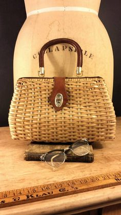 Mid Century Wicker Purse, Retro Mr Simon Straw Bag, Vintage Spring Handbag by ElisabethMacBeth on Etsy