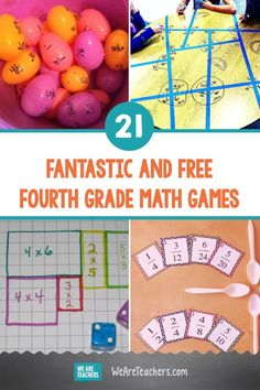 Math games 2251868551531061 - 21 Fantastic and Free Fourth Grade Math Games. Teach common core fourth grade math skills like factors, decimals, geometric angles, and much more with these fun and free math games. Source by weareteachers Money Math Games, Easy Math Games, Printable Math Games, Free Math Games, Math Card Games, Kindergarten Math Games, Fun Math Activities, Math Classroom, Classroom Ideas
