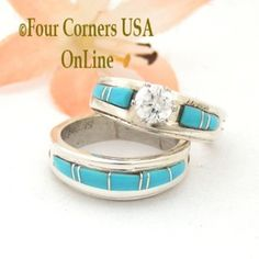 Size 5 1/2 Turquoise Engagement Bridal Wedding Ring Set Native American Wilbert Muskett Jr WS-1568  Four Corners USA OnLine Jewelry