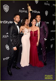 """soph-okonedo: """" Jussie Smollett, Taraji P. Henson, winner of Best Performance in a Television Series - Drama for 'Empire,' Grace Gealey, and Trai Byers attend InStyle and Warner Bros. Empire Tv Show Cast, Serie Empire, Jussie Smollett Empire, Most Popular Tv Shows, Taraji P Henson, Black Actresses, Famous Singers, Silk Gown, Tv Presenters"""