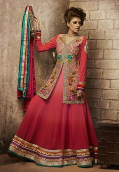 Shaded Red Faux Georgette Abaya Style Churidar Kameez
