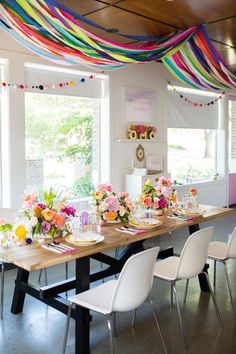On the look out for colors that shine and party details, divine? If so this Lisa Frank Inspired Rainbow Party at Kara's Party Ideas is right on time! Rainbow Parties, Rainbow Birthday Party, Summer Parties, Birthday Bash, Birthday Parties, Birthday Banners, Farm Birthday, Lisa Frank, Mexican Party