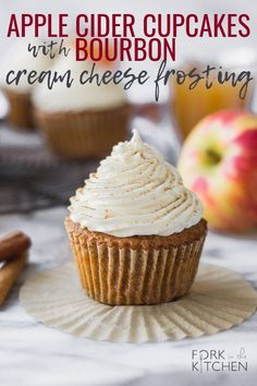 A fall favorite! Make these Apple Cider Cupcakes for dessert this season - and add Bourbon Cream Cheese Frosting for a special treat! Leave out the Bourbon to make these kid-friendly! | Fork in the Kitchen #forkinthekitchen #dessert #halloween #fall