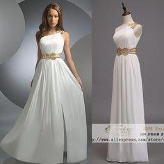 Envío gratis Elegant Grecian un hombro oro rebordear gasa vestido largo blanco vestido de fiesta para el partido de tarde