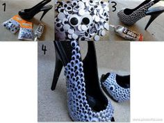Heels covered in googly eyes.