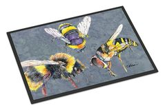 Bee Bees Times Three Indoor or Outdoor Mat 18x27 Doormat