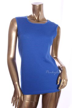 KAREN SCOTT New Without Tags Womens Blue Striped Sleeveless Knit Top Size S #KarenScott #KnitTop #Casual