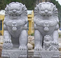 Fu Dog, used in front of official buildings for demon scaring. The lion is sacred to Buddhism and represents valor and energy. Foo Dog Tattoo, Dog Garden Statues, Style Chinois, Stone Lion, Statues For Sale, Fu Dog, Greek Statues, Japanese Dragon Tattoos, Lion Dog