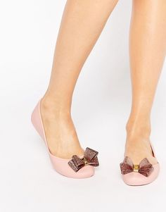 c80ce942d059 Image 1 of Zaxy Start Glitter Bow Flat Shoes Nude Flats