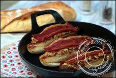 endives caramélisées jambon serrano Yotam Ottolenghi Yotam Ottolenghi, 20 Min, Mayonnaise, Mozzarella, Sausage, French Toast, Bacon, Food And Drink, Pork