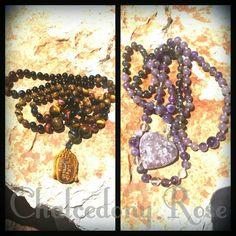 Tiger Eye and Black Onyx Buddha Mala, and Lepidolite, Amethyst and Iolite Mala $140  www.facebook.com/chalcedonyrose
