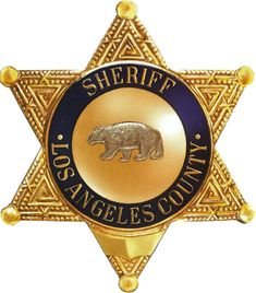 Gold-leaf gilded plaque of the the star badge of the Sheriff of Los Angeles County, California. This and similar plaques of any sheriff's badgs can be made in any size from 20 inches to 10 ft high.