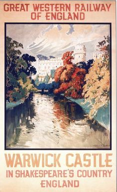 Vintage GWR Warwick Castle Railway Poster ,17