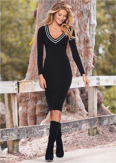 Vestido Midi preto multi encomendar agora na loja on-line bonprix.de  R$ 159,90 a partir de Vestido manga longa de comprimento midi. Confeccionado em malha ...