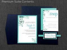 Tiffany Blue Flower Wedding Invitations Navy by KimKimDesigns