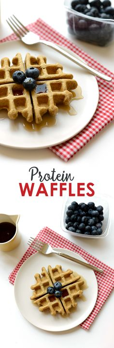 Get a whopping 16g of protein from these delicious and healthy Protein Waffles made with 100% whole grains and no added sugar!