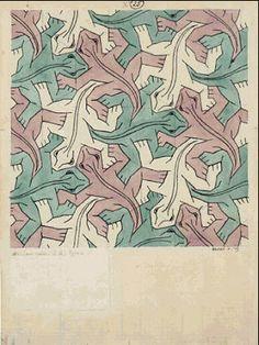 M.C. Escher – Lizard (No. 25). 1939 India ink, pencil, watercolor.