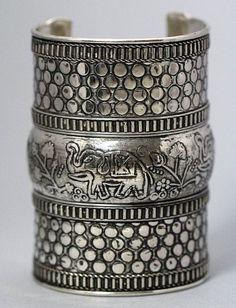 Elephant Etched Cuff Tribal Bracelet Bangle Ethnic Ornate Antique Silver Kuchi Arm Jewelry
