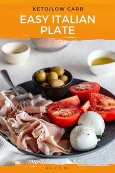 This easy Italian plate packs in the healthy fats but feels like a light lunch. A generous assortment of fresh mozzarella cheese sliced prosciutto green olives and tomatoes are drizzled with olive oil then seasoned with salt and pepper. Low Carb Recipes, Real Food Recipes, Great Recipes, Snack Recipes, Quick Snacks, Keto Snacks, Best Keto Diet, Fresh Mozzarella, No Calorie Foods