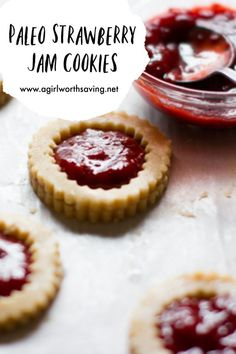 Who doesn't love a Paleo Sugar Cookie with Fresh homemade jam? These Paleo Strawberry Jam Cookies are perfect with a hot cup of tea on a cold day. Paleo sugar cookies look gorgeous which makes them good for gift giving and sharing with friends! Jam Cookies, Paleo Cookies, Gluten Free Cookies, Sugar Cookies, Best Paleo Recipes, Primal Recipes, Jam Recipes, Cookie Recipes, Free Recipes
