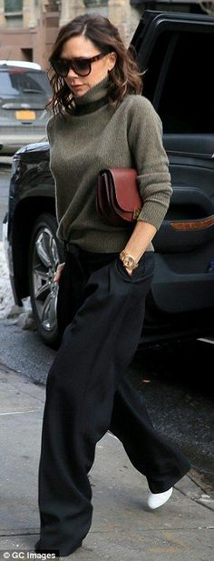 """Strut your stuff in wide leg trousers like Victoria Beckham Click """"Visit"""" to buy #DailyMail"""