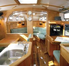 Boat Interior Design Ideas. I like the idea of the saloon being forward on a boat.
