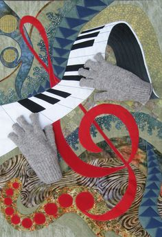"""Glenn Gould in the Abstract"" by Victoria Gray, applique quilt, photo by Kathy K. Wylie"