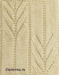 Ажурные веточки - образец и схема узора для полотна спицами