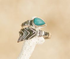 Arrow Rings Sterling Silver Turquoise Boho Chic by DonBiuSilver
