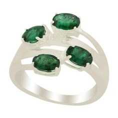 Luhlaza Emerald & Diamond Sterling Silver Ring ATGW 1.68cts