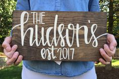 This beautiful last name sign is made from solid wood and will include your name and established date. This sign is made to hang on the wall or