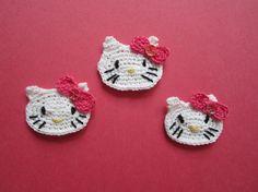 Crochet Hello Kitty Applique set of 3. Crochet animal applique. White Cat applique. Kids embellishment.