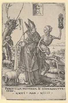 Heinrich Aldegrever (German, ca. 1502–1555/1561) after Hans Holbein the Younger (German, 1497/98–1543). Death and the Bishop, from The Power of Death (Allegory of Original Sin and Death). The Metropolitan Museum of Art, New York. Gift of Harry G. Friedman, 1962 (62.635.506a).