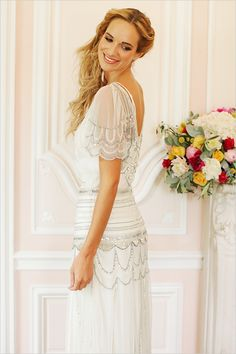 flutter sleeved wedding gown