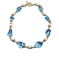 Blue Topaz & Freshwater Pearl Necklace ($12,000) ❤ liked on Polyvore